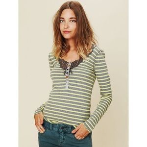 Free People Call Back Striped Henley Top